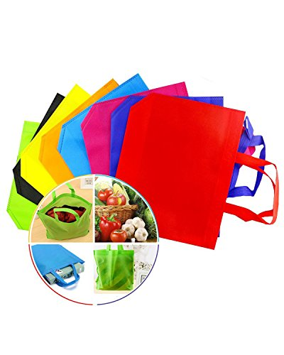 Newbested 32 PCS 1310 Assorted Colors Party Gift Tote BagsPolyester Non-Woven MaterialAssorted Colorful Blank Canvas BagsRainbow With Handles For Birthday Favors Snacks Delivery Bag ra