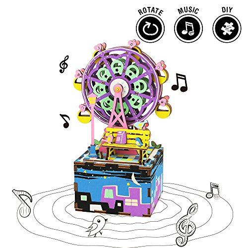 Rolife 3D Wooden Puzzle Hand Crank Music Box Toys Machinarium-DIY Wood Craft Kit-Creative Gift for Boys and Girls When Christmas Birthday Valentine's Day Ferris Wheel