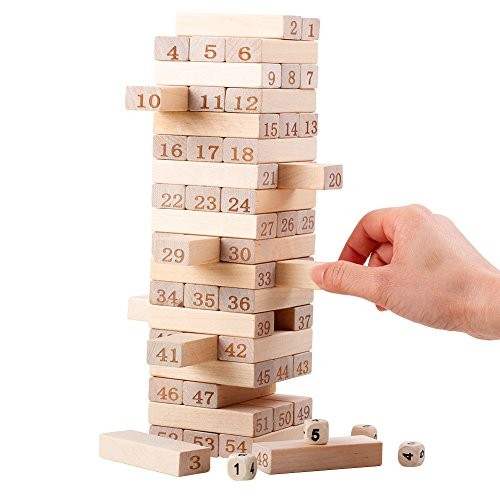 QZM Wooden Stacking Board Games Timber Tower Classic Best Family Fun Educational for Kids Gifts Ideas Number Match 54 Pieces