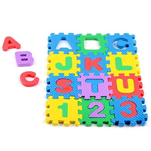 E-SCENERY 36 Tiles EVA Foam Rainbow Letters and Numbers Puzzle Play Mat Kids Learn & with Interlocking Pieces 6cm6cm Each block