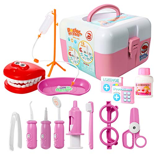 ThinkMax Dentist kit 15 pcs Pretend Play Set Toy for Kids and Toddlers Pink