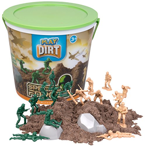 Play Dirt Special Forces Bucket 15 Lb – Unique Kinetic Dirt-Like Sand For Burying and Digging Fun Includes 16 Army Soldiers 2 Rock Molds