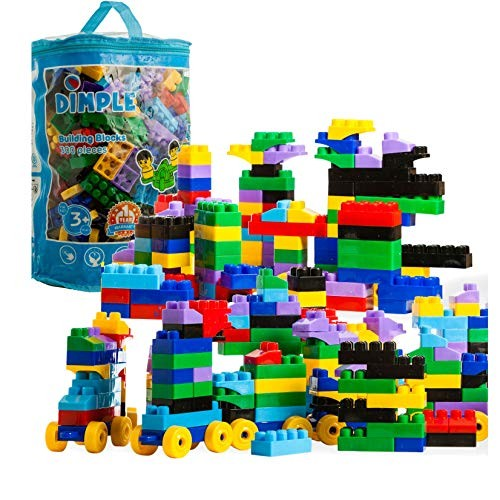 Dimple Soft Plastic Large Multi Colored Stacking Building Block Set Wheeled Trainpiece Carry Bag Tons Fun Great Gift Toy Kids Toddlers 300Piece Non-Toxic Bright Colors