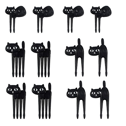 12 Pcs Cute Black Cat Cartoon Animal Food Fruit Picks Forks for Kids Bento Box Lunch Decor Party Accessories