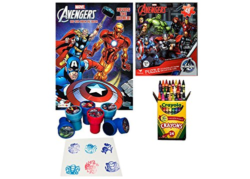 Avengers Coloring Book Puzzle and Stamper Activity Set – Include 1 96 pages 24 Crayola Crayons 6 Stampers