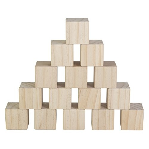 Set of 15 Large Wooden Blocks – 2 Inch Natural Wood Square Cubes with Sanded Smooth Surface for Photo Crafts Art Supplies Puzzle Projects and More Great Toys Kids & Child