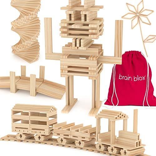 Brain Blox Wooden Building Blocks for Kids – Planks Set STEM Toys Boys and Girls 200 Pieces