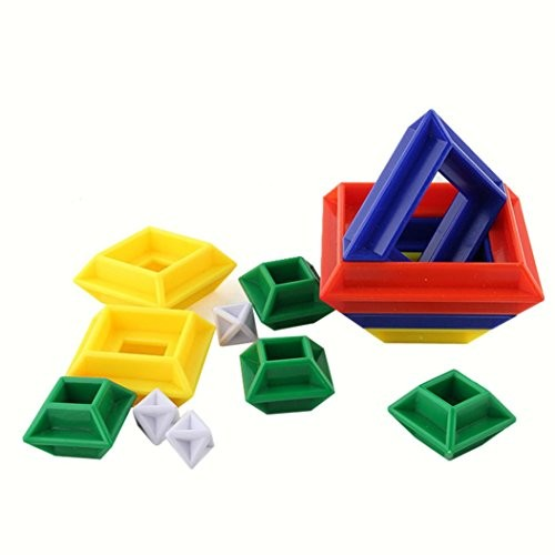 E-SCENERY 3D Build Geometric Shapes with Shape Blocks Pattern Cards – Educational Toy or Learning Game for Children 9912cm