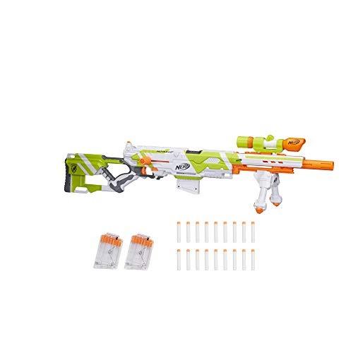 Longstrike Nerf Modulus Toy Blaster with Barrel Extension Bipod Scopes 18 Modulus Elite Darts