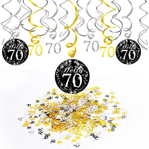 70th Birthday DecorationKonsait Hanging Swirl 15Counts Happy & 70 Table Confetti 105oz Black and Gold Ceiling Decor for Party Decoration