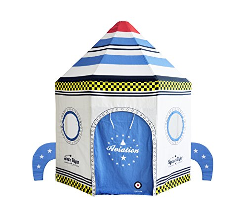 Asweets Rocket Ship Cotton Canvas Pavilion Play Tent White