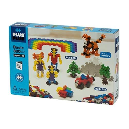 PLUS – Open Play Set 300 Piece Basic Color Mix Construction Building Stem Steam Toy Interlocking Mini Puzzle Blocks for Kids