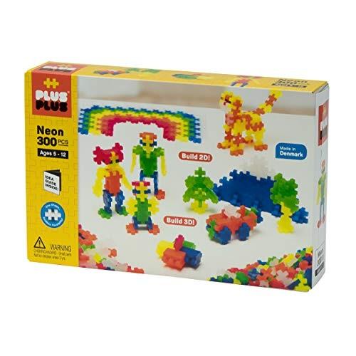PLUS – Open Play Set 300 Piece Neon Color Mix Construction Building Stem Steam Toy Interlocking Mini Puzzle Blocks for Kids