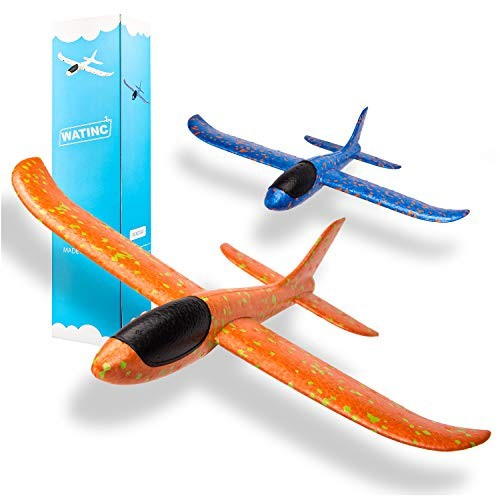 WATINC 2pcs 135inch Airplane Manual Throwing Fun challenging Outdoor Sports Toy Model Foam Airplane