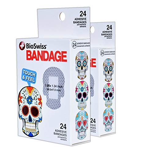 BioSwiss Novelty Bandages Self-Adhesive Funny First Aid Gag Gift 2 Boxes of 24 Bandages Sugar Skull