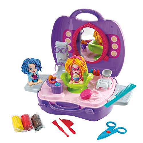 Children's Dough Carry Hair Salon – Kids Play Playset Clay Toy Tool Set Crazy Cuts Barbershop Pretend Kit Portable Molds Case 945 x 39 89 Inches