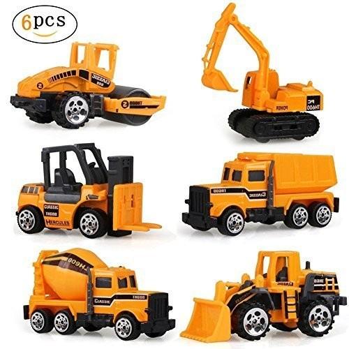 LYhopes 6 Types Diecast Mini Alloy Construction Vehicle Engineering Car – Excavator Toy for Children Kids Boys and Girls Model Cars ForkliftBulldozersAsphalt CarTank TruckExcavatorDumper