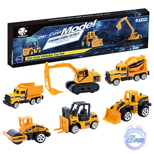 Elongdi Die-Cast Construction Toys Set Excavator Toy Vehicles Dump Truck Forklift Road Roller Wheel