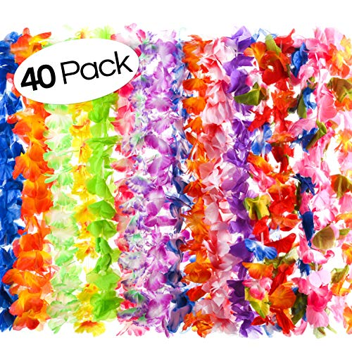 40 Count Hawaiian Flower Lei for Luau Party – Bulk Set of Floral Necklace Leis Vibrant Colors Assortment Favors Garland Decorations or Ornaments Any Occasion