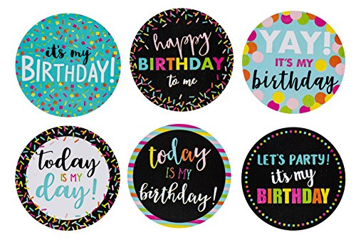 Happy Birthday to Me Stickers 504-Piece Round It's My Label Set Roll with 6 Assorted Designs for Teachers Classroom Offices Celebration 2 Inches Diameter