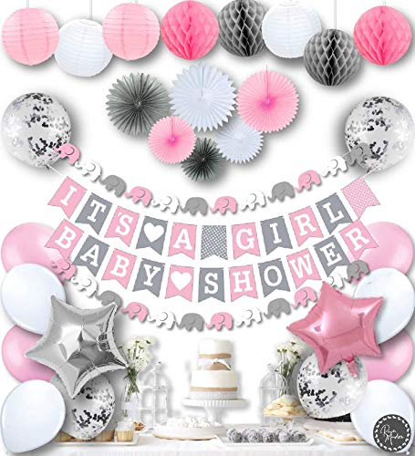 RainMeadow Premium Baby Shower Decorations for Girls Kit It's A Girl Garland Bunting Banner Paper Lanterns Honeycomb Balls Tissue Fans Pink Grey White Elephant Style
