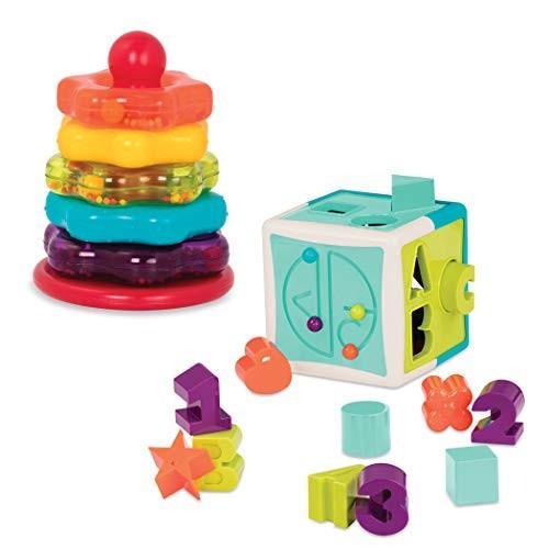 Battat Stacking Rings + Shape Sorter Cube Bundle Learning Toys for Kids Age 1 & Up 20 Pc BT2631Z