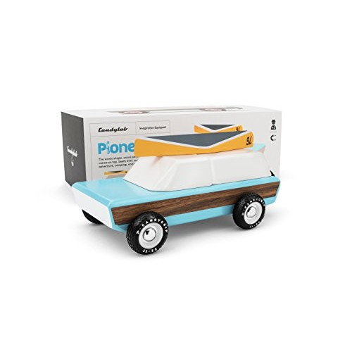 Candylab Toys Wooden Cars Pioneer Classic Model with Canoe Modern Vintage Style Collectible Kids