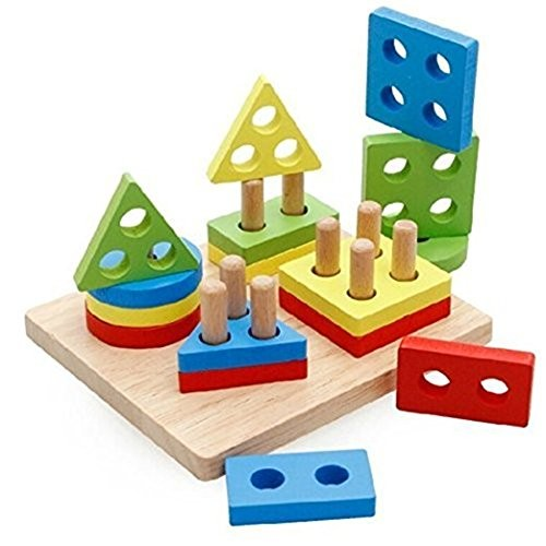Freedi Shape Geometric Sorting Board Stack and Sort Educational Toy Color Wood Brain Teaser Puzzles for Kids 1-3 Year Old