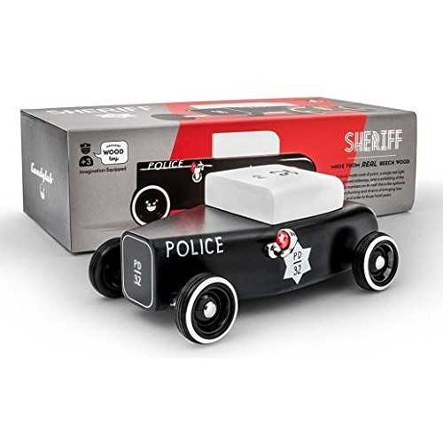 Candylab Toys Wooden Cars Outlaw Sheriff Modern Vintage Style Kids Toy Police Car Solid
