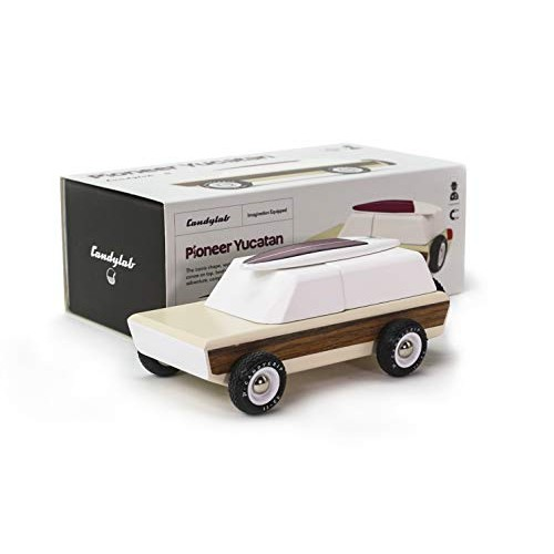Candylab Toys Wooden Cars Pioneer Yucatan with Magnetic Surfboard Modern Vintage Style Collectible Kids