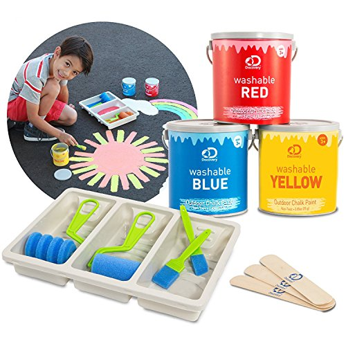 Discovery Kids Washable Outdoor Liquid Chalk 11-Piece Set with Paints Foam Brushes Mixing Sticks Tray