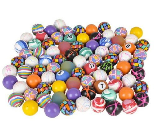 NEW 100 MIxED 27MM SUPERBALLS HIGH BOUNCE VENDING BALLS SUPER BOUNCY CARNIVAL BALL PARTY DECORATE COLORFUL FREE SHIPPING