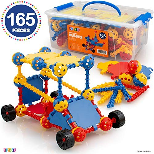 Play22 Building Toys For Kids 165 Set – STEM Educational Construction Blocks 3+ Best Toy Gift Boys and Girls Great Sets Original