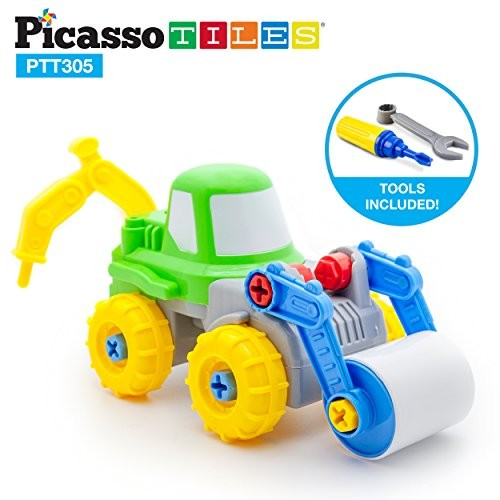 PicassoTiles Take-A-Part 2-in-1 Construction Truck Toys Car Set Jack Hammer Road Roller STEAM Toy DIY Building Dismantling Kit with Safe Child-Size Large Parts Screw Driver Stubby Wrench PTT305