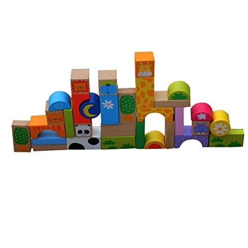 TOYMYTOY 32pcs Wooden Stacking Block Preschool Kindergarten Construction Building Toy for Kids