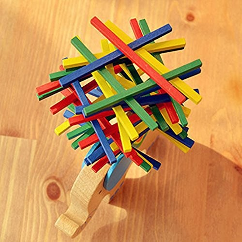 SHUYUE Wooden Stick Stacking Balance Beam Puzzle Building Blocks Board Table Toys Educational Elephant Balancing Bar Game for Kids 40 pcs