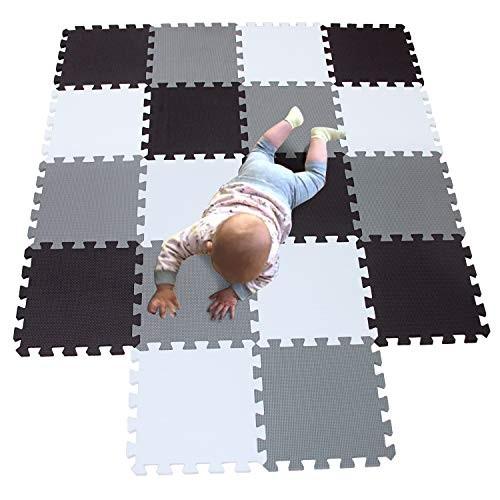 MQIAOHAM playmat Foam Play Tiles Interlocking mat Baby mats for Kids Floor Children playmats Jigsaw Puzzle 18 Pieces Rug Crawl White Black Grey 101104112