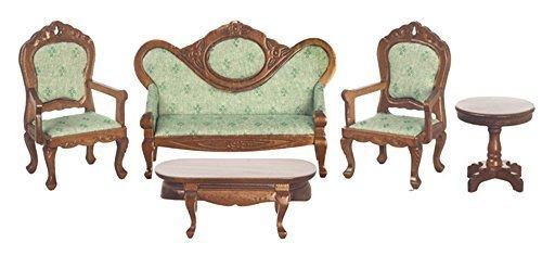 Melody Jane Dollhouse Victorian Living Room Furniture Set Walnut & Green