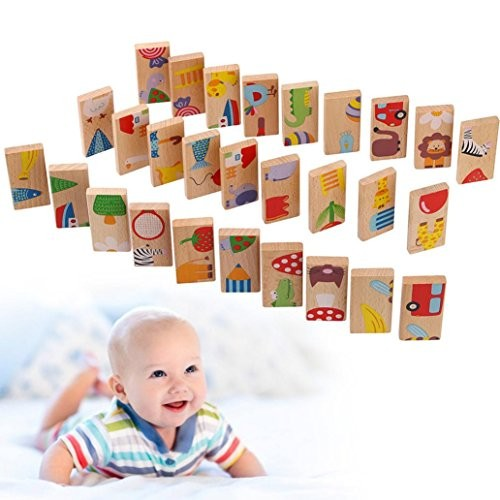 Gbell Colorful Dominos Blocks SetWooden Animal Building Educational Play Toy for Children Kids 28PCS Multicolor