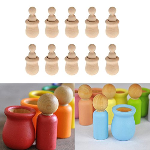 Hacloser 10Pcs set Wooden Peg Dolls Unfinished People Nesting Set DIY Craft For Paint Stain Ornament Decorations