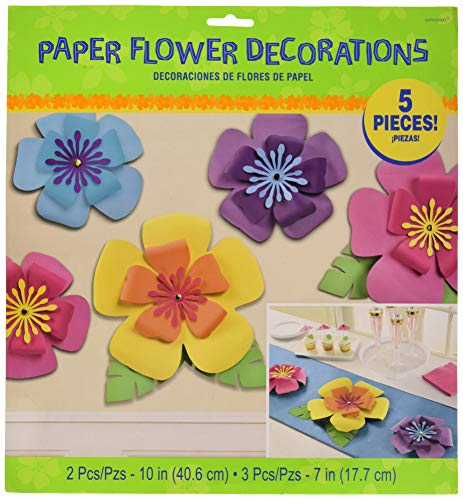 Amscan Party Supplies Hibiscus Paper Flowers 5ct Sizes Multi ColorMulticolorMulti