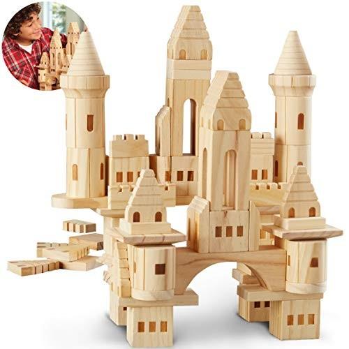 DISCOVERY KIDS 75-Piece Premium Piece Wooden Castle Building Blocks Set; Spark Your Childs Imagination & Develop Essential Skills Educational Durable Safe Construction Great Gift
