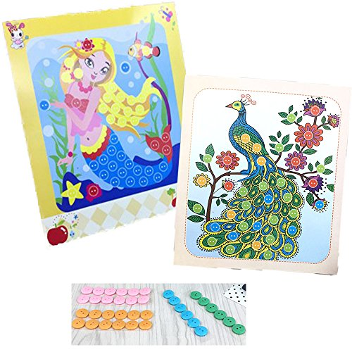 YiQi Toys Kids DIY Hand-Made Toy Button Picture-2 Pieces Cartoon Fish and Peacock Creative Viscose Painting for Family Decorates 3