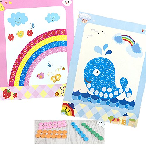 YiQi Toys Kids DIY Hand-Made Toy Button Picture-2 Pieces Cartoon Rainbow and Whale Creative Viscose Painting for Family Decorates 1