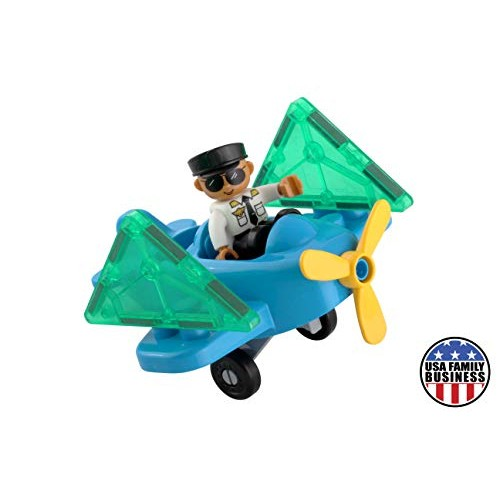 Flying Toy Plane and Pilot Figure Magnetic Tiles Expansion Toys Set Airplane with Add on Sets for Blocks Fun Educational STEM Boys Girls