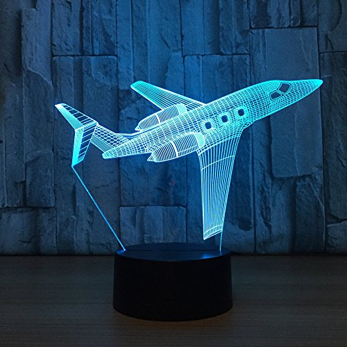 3D Visual Airplane Night Light Aircraft LED Desk Lamp 7 Color Change USB Powered or Battery Plane Toy Table Decoration Birthday Christmas Festival Gift for Kid and Adult enthusiast