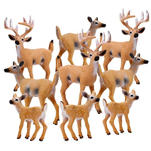 RESTCLOUD Deer Figurines Cake Toppers Toys Figure Small Woodland Animals Set of 9