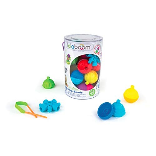Lalaboom BL200 Step-by-Step Developmental Activity Beads 24 Piece Set Pop Twist Mix Stack and Lace Montessori Method STEM Focus Dishwasher Safe – Ages 10 Months 3 Years