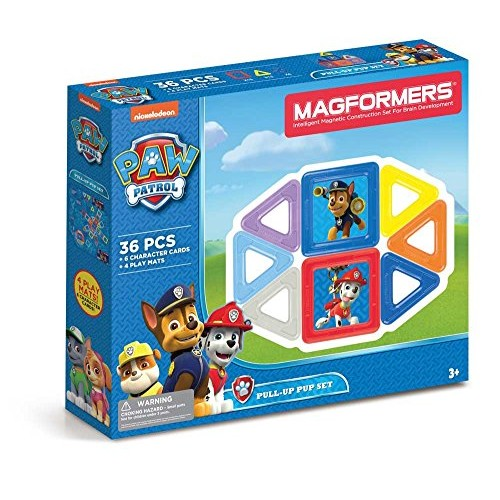 Magformers Paw Patrol 36 Pieces Pull Up Pup Set Rainbow Colors Educational Magnetic Geometric Shapes Tiles Building STEM Toy Ages 3+