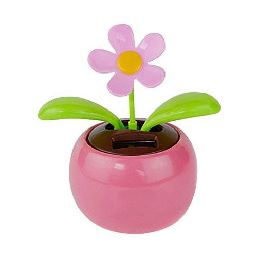 Glumes Solar Powered Dancing Toy Sunflower Swaying Flower for Car Decoration Happy Valentine Day Halloween Pink